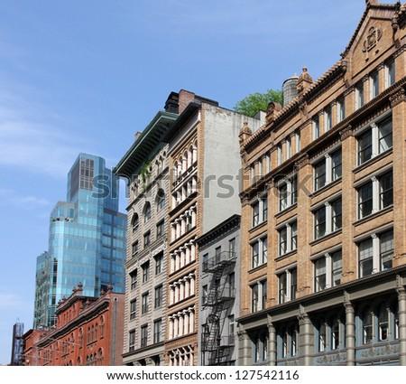 Manhattan facades, Lafayette Street - stock photo