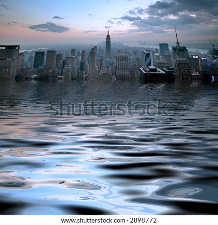 Manhattan - flood - stock photo