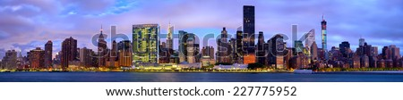 Manhattan Midtown skyline panorama before sunrise, New York
