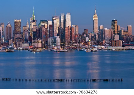 Manhattan, New York City.Manhattan skyline viewed from New Jersey at twilight. - stock photo