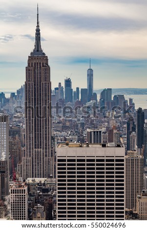 MANHATTAN, NEW YORK - DECEMBER 06, 2016 - Manhattan Skyscrapers in New York City, 2016 in New York