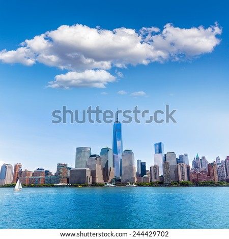 Manhattan New York skyline from Hudson River in USA US - stock photo
