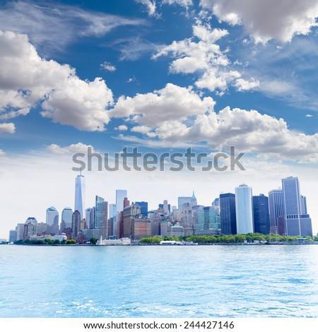 Manhattan New York skyline from NY bay in USA US - stock photo