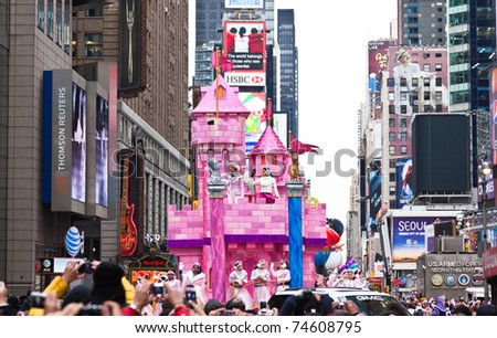 MANHATTAN - NOVEMBER 25 : castle model passes Times Square at the Macy's Thanksgiving Day Parade November 25, 2010 in Manhattan.
