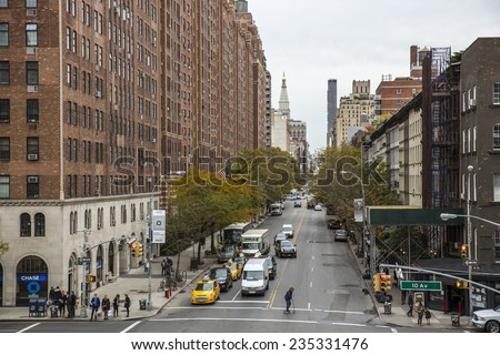 Manhattan, NYC - November 5: View of Lower West Side from the High Line in Manhattan, NYC on November 5, 2014. The High Line is a linear park built on an elevated section of a disused railway. - stock photo