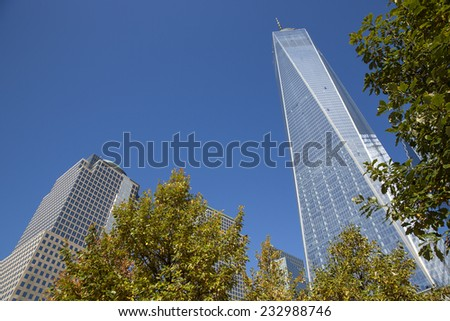 Manhattan, NYC - November 3: View of the One World Trade Center (also known as 1 World Trade Center, One WTC and 1 WTC) in Manhattan, NYC on November 3, 2014. - stock photo