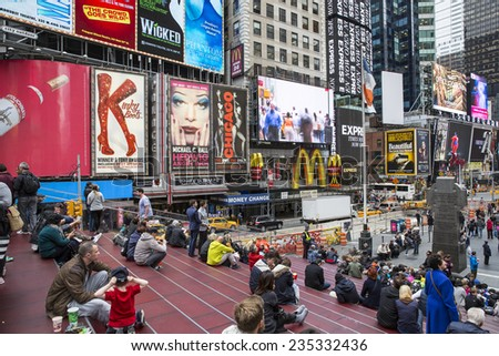Manhattan, NYC - November 5: View of Times Square in Manhattan, NYC on November 5, 2014. - stock photo