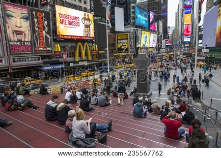 Manhattan, NYC - November 5: View of Times Square in Manhattan, NYC on November 5, 2014.