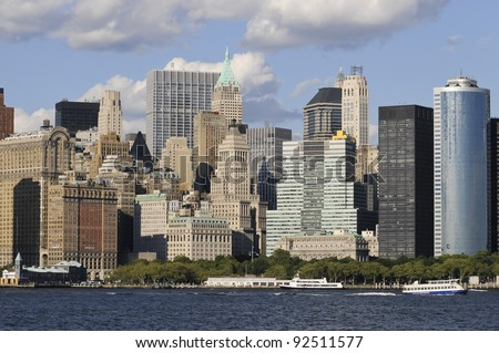 Manhattan, seen from Hudson River, New York, USA - stock photo