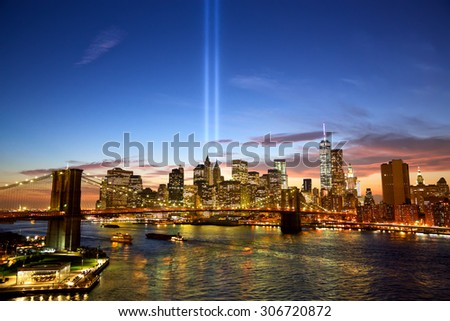 Manhattan skyline and the Towers of Lights at sunset in New York - stock photo