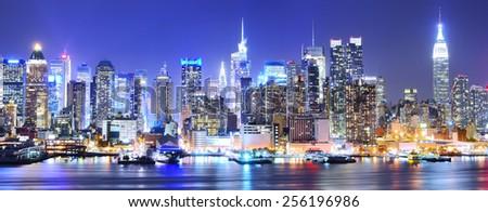 Manhattan skyline at night. - stock photo