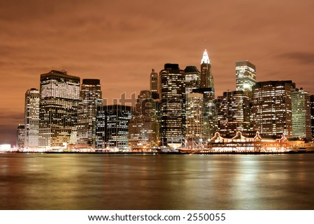 Manhattan skyline at Night Lights