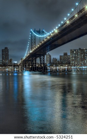 Manhattan skyline at night,New York city,United States of America