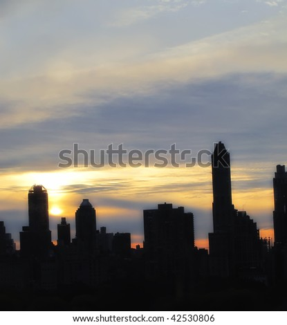 Manhattan skyline at sunset - Central Park - stock photo