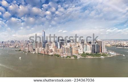 Manhattan skyline from high vantage point. - stock photo