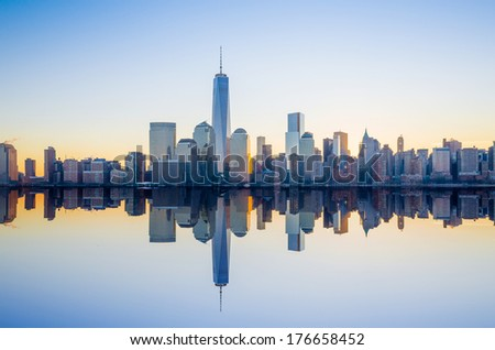 Manhattan Skyline from Jersey at twilight, New York City - stock photo