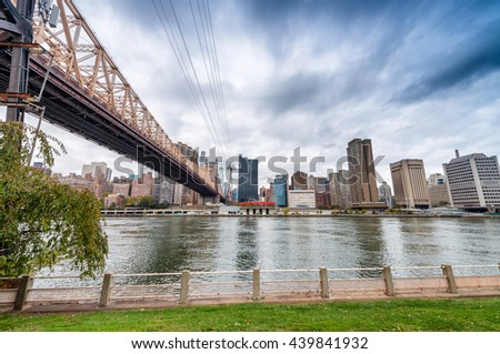 Manhattan skyline from Roosevelt Island, New York City. - stock photo