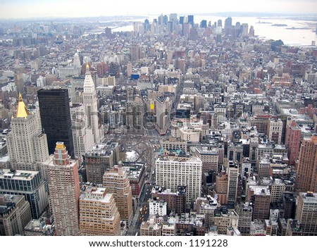 Manhattan Skyline From Top of Empire State Building -Downtown - stock photo