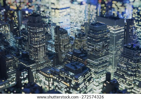 Manhattan Skyline ,New York City,blurred background - stock photo