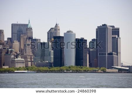 Manhattan skyline on a Clear Blue day - stock photo
