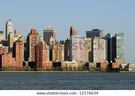 Manhattan skyline, photographed from New Jersey
