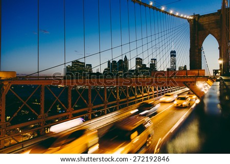 Manhattan Skyline seen from Brooklyn Bridge - stock photo