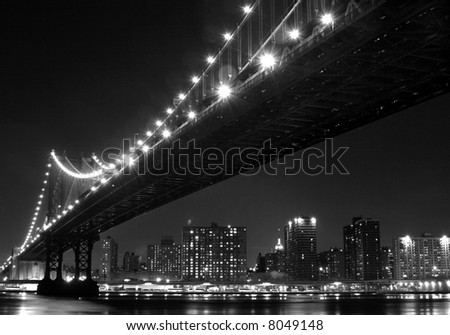 Manhattan skyline with the bridge - stock photo