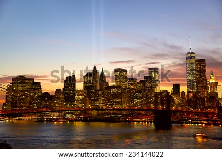 Manhattan skyline with the Towers of Lights at sunset in New York City