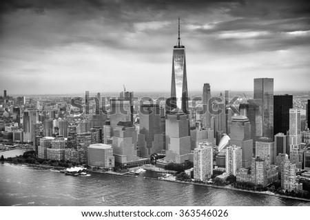 Manhattan skyscrapers in NYC. - stock photo