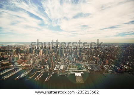 manhattan view from the air - stock photo
