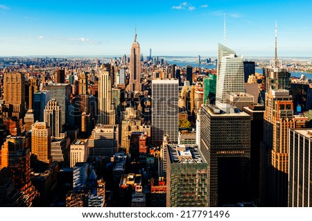 Manhattan view from the roof - stock photo