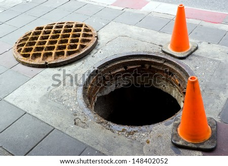 Manhole cover open on the foot bath near street - stock photo