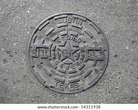 Manholes covers from Austin, TX - stock photo