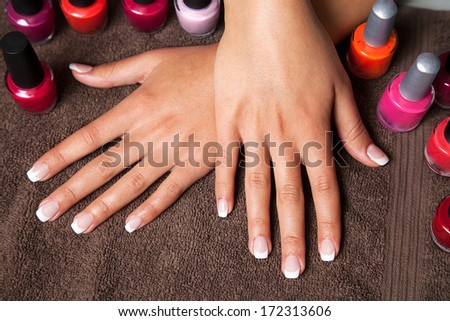 Manicure at the spa - stock photo