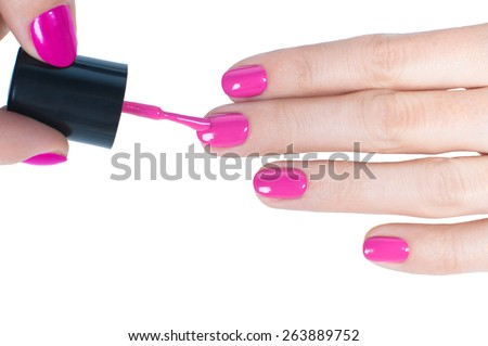 Manicure - Beautiful manicured woman's nails with pink nail polish  - stock photo