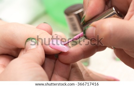 Manicure in a beauty salon