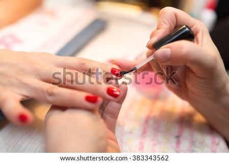 Manicure in a beauty salon - stock photo