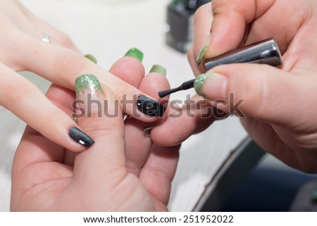 manicure in beauty salon - stock photo