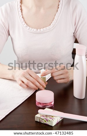 Manicure on female hands.