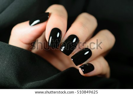 Manicure on female hands black nail stock photo royalty free manicure on female hands black nail stock photo royalty free 510849625 shutterstock voltagebd Gallery