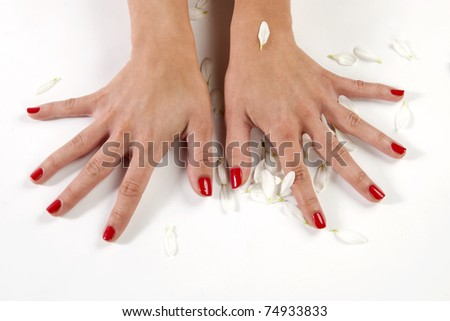 manicure woman hand, isolated on white - stock photo