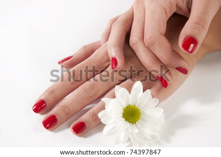 manicure woman hand with white flower