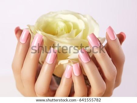 Manicured Nails Pink Nail Polish Manicure Stock Photo (Royalty Free ...