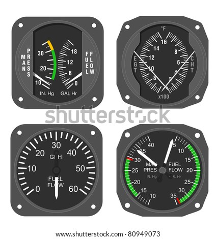 Manifold Pressure and Fuel Flow combo gauge, Fuel Flow gauge, Exhaust Gas Temperature and Cylinder Head Temperature combo gauge. - stock photo