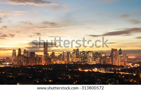 Manila at night, Philippines - stock photo