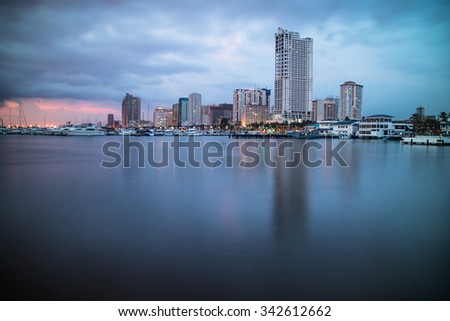 Manila Bay Skyline - stock photo