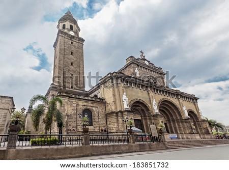 Manila Cathedral at day, Intramuros, Manila, Philippines - stock photo