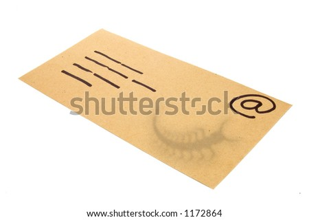 Manila Envelope used as a concept for email with the shadow of a bug (virus) attachment. - stock photo