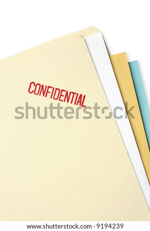 "Manila file folder stamped ""confidential."" - stock photo"