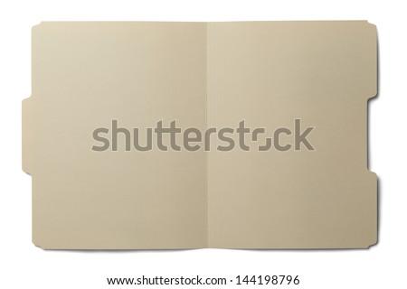 Manila folder open and empty isolated on white background. - stock photo